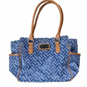 Tommy Hilfiger blue signature purse w/ tan accents